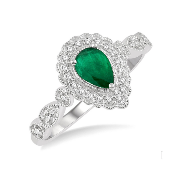 10k White Gold 1/6ctw Pear Shape 6x4mm Emerald and Round Cut Diamond Ring Robert Irwin Jewelers Memphis, TN
