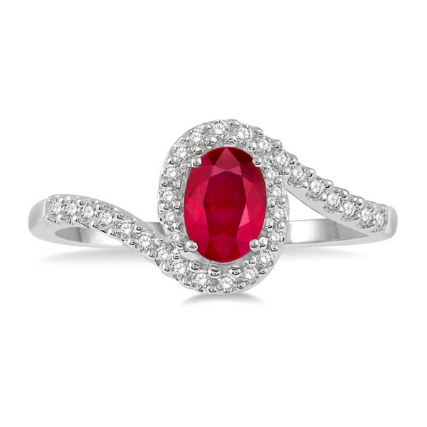 10 Karat White Gold 6x4mm Ruby and 1/5 Carat Diamond Ring Robert Irwin Jewelers Memphis, TN
