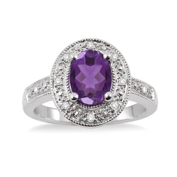 Sterling Silver 8x6mm Oval Cut Amethyst and 1/20 Carat Diamond Ring Robert Irwin Jewelers Memphis, TN