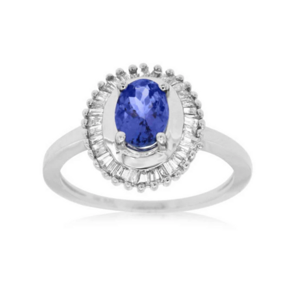 14 Karat White Gold 1 1/10 Carat Tanzanite and Diamond Ring Robert Irwin Jewelers Memphis, TN