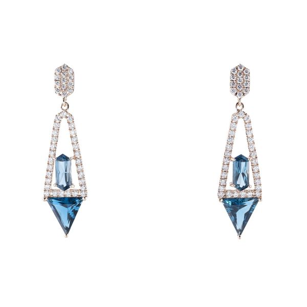 14k Rose Gold 3.03ctw Diamond London Blue Topaz Dangle Earrings Robert Irwin Jewelers Memphis, TN