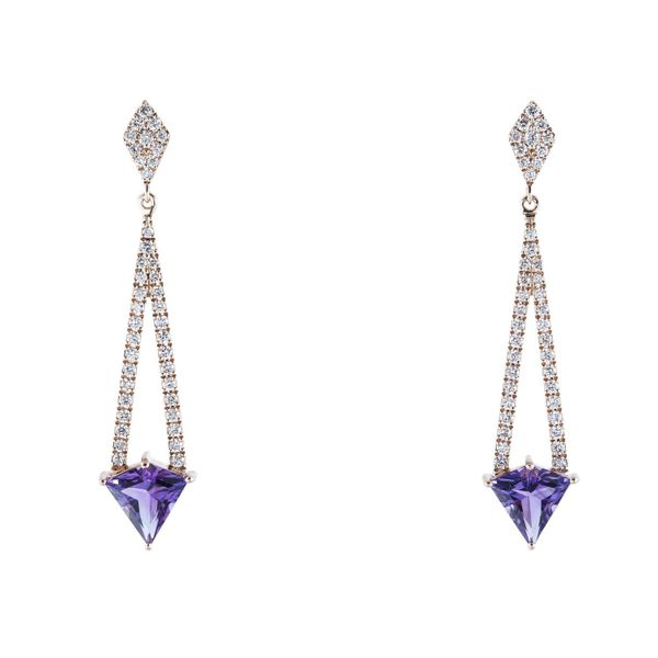14k Rose Gold 1.90ctw Diamond Amethyst Dangle Earrings Robert Irwin Jewelers Memphis, TN