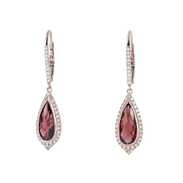18k Rose 4.37ctw Garnet and Diamond Drop Earrings Robert Irwin Jewelers Memphis, TN
