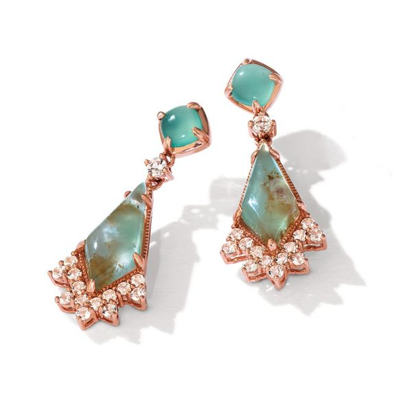 LeVian 14k Strawberry Gold 4 3/4ctw Aquaprase Candy Earrings With 7/8ctw Vanilla Topaz Robert Irwin Jewelers Memphis, TN