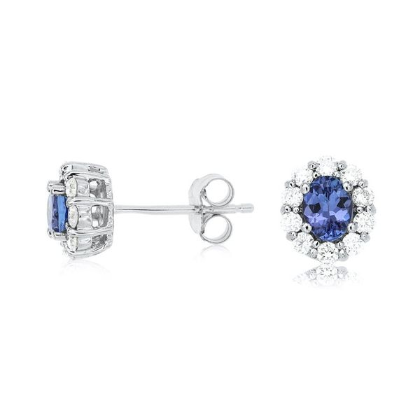 10k White Gold 1.15ctw Tanzanite and Diamond Earrings Robert Irwin Jewelers Memphis, TN