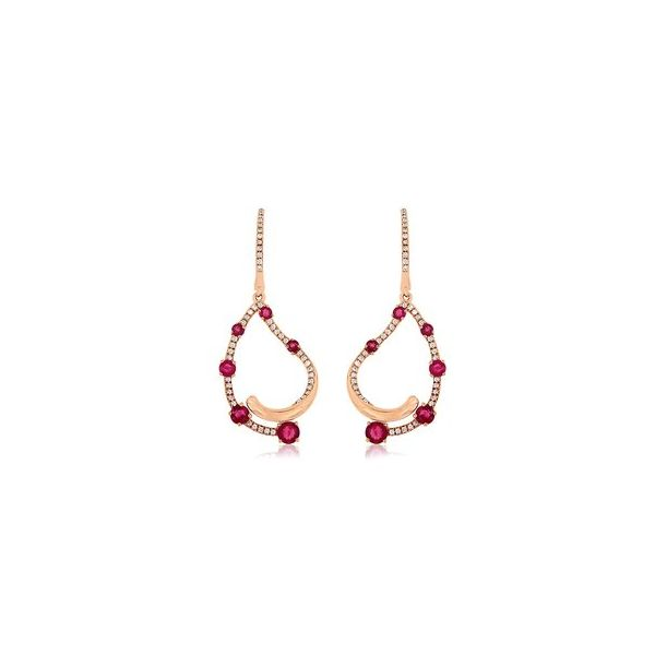 14k Rose Gold 1.44ctw Ruby and Diamond Earrings Robert Irwin Jewelers Memphis, TN