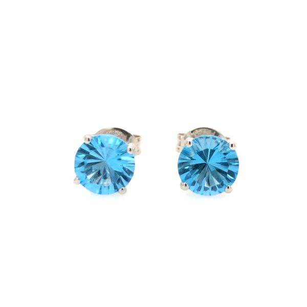 Sterling Silver Lab Created 6mm Blue Topaz Round Stud Earrings Robert Irwin Jewelers Memphis, TN