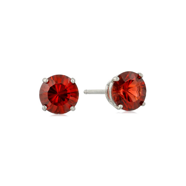 Sterling Silver 6mm Lab Created Round Garnet Earrings Robert Irwin Jewelers Memphis, TN