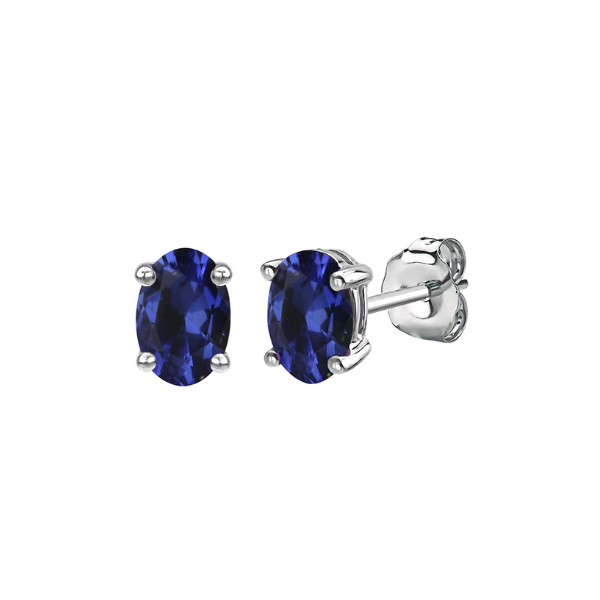 Sterling Silver Lab Created Oval Sapphire Stud Earrings Robert Irwin Jewelers Memphis, TN