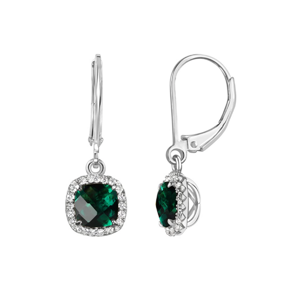 Sterling Silver Lab Created Emerald and White Sapphire Halo Leverback Drop Earrings Robert Irwin Jewelers Memphis, TN