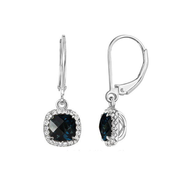 Sterling Silver Lab Created Blue and White Sapphire Halo Leverback Drop Earrings Robert Irwin Jewelers Memphis, TN