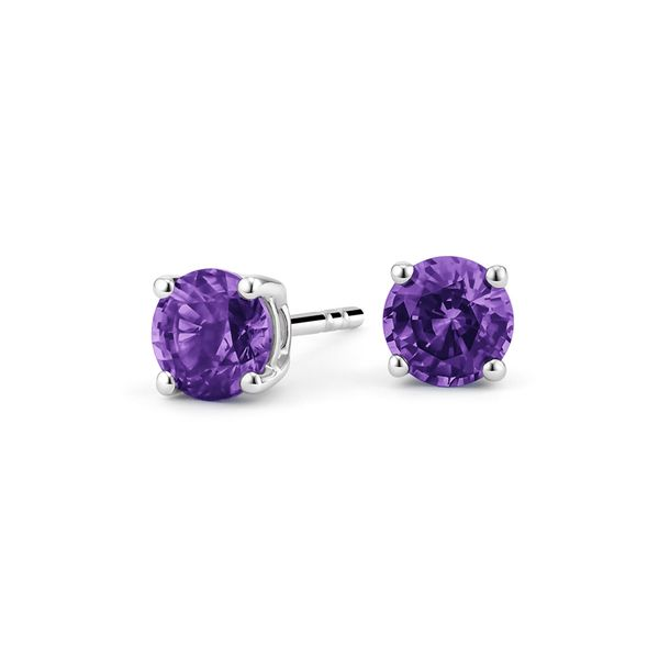 Sterling Silver 6mm Lab Created Amethyst Round Stud Earrings Robert Irwin Jewelers Memphis, TN