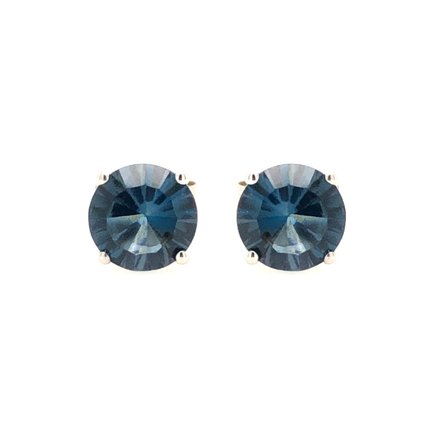 Sterling Silver Lab Created 6mm Round London Blue Topaz Stud Earrings Robert Irwin Jewelers Memphis, TN