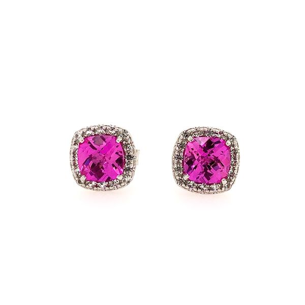 Sterling Silver Lab Created Pink Sapphire Halo Earrings Robert Irwin Jewelers Memphis, TN