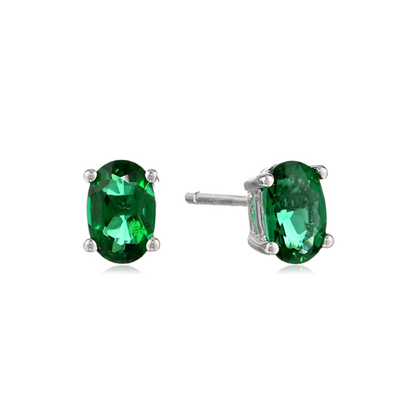 Sterling Silver Lab Created Oval Emerald Stud Earrings Robert Irwin Jewelers Memphis, TN