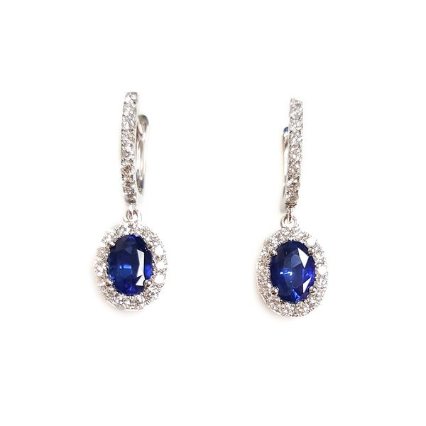 14k White Gold Dvani 3.14ctw Oval Sapphire and Diamond Halo Earrings Robert Irwin Jewelers Memphis, TN