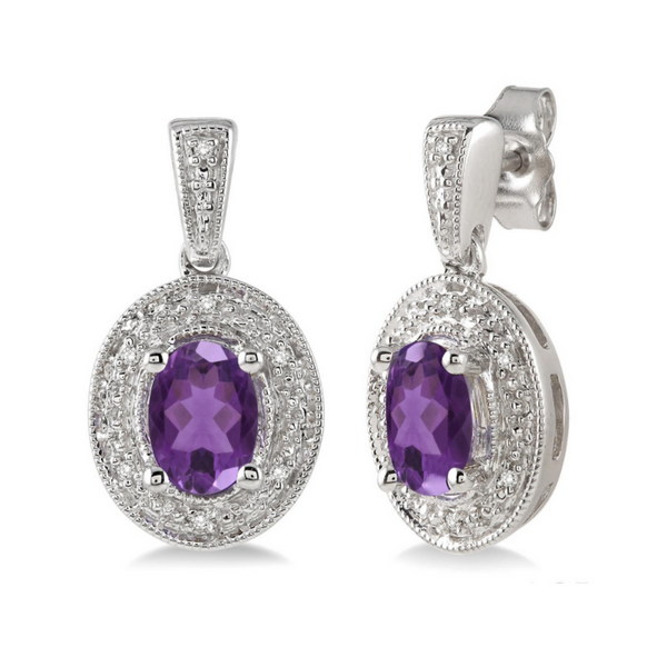 Sterling Silver 7x5mm Amethyst and 1/20 Carat Diamond Earrings Robert Irwin Jewelers Memphis, TN