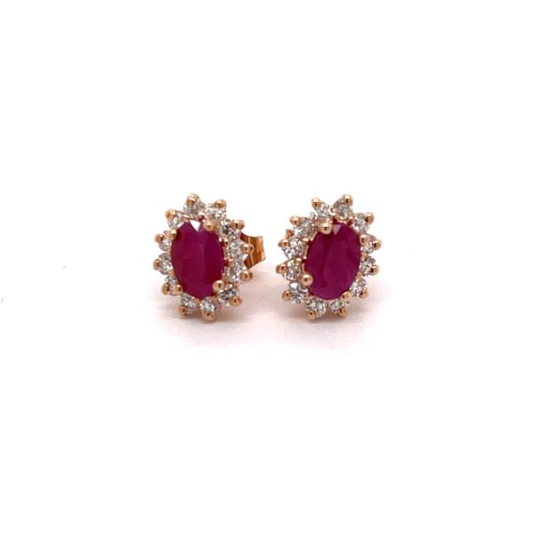 14 Karat Rose Gold 1 3/4 Carat Total Weight Ruby and Diamond Earrings Robert Irwin Jewelers Memphis, TN
