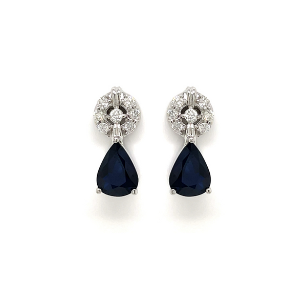 14 Karat White Gold 2 3/4 Carat Diamond and Pear Shape Sapphire Earrings Robert Irwin Jewelers Memphis, TN