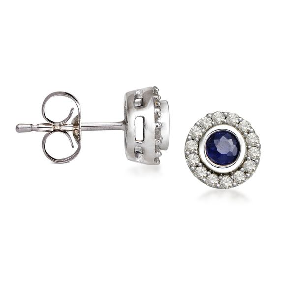10k White Gold 1/3 Carat Round Sapphire and Diamond Halo Earrings Robert Irwin Jewelers Memphis, TN