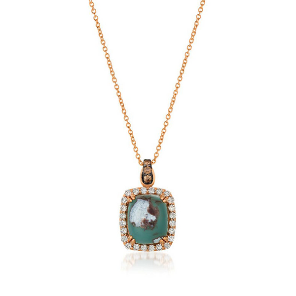 LeVian 14k Strawberry Gold 6.56ctw Aquaprase Candy Pendant With Chocolate and Vanilla Diamonds Robert Irwin Jewelers Memphis, TN