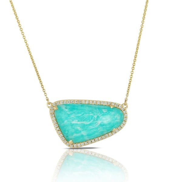18k Yellow Gold 0.20ctw Diamond and Amazonite Pendant Robert Irwin Jewelers Memphis, TN