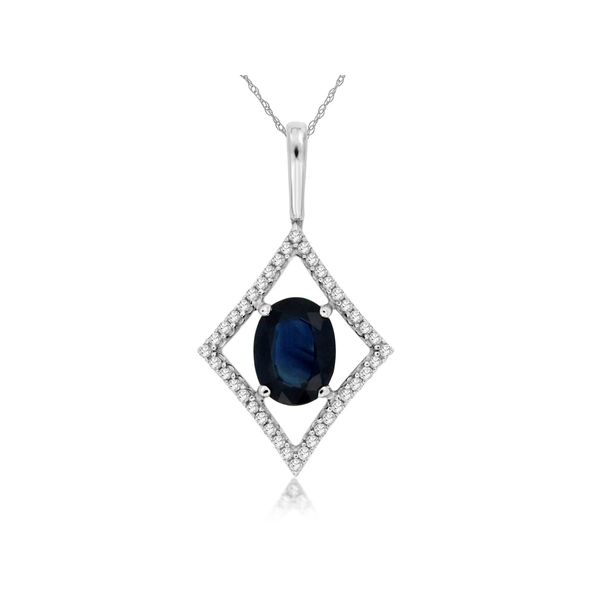 14k White Gold 1.55ctw Diamond and Sapphire Pendant Robert Irwin Jewelers Memphis, TN