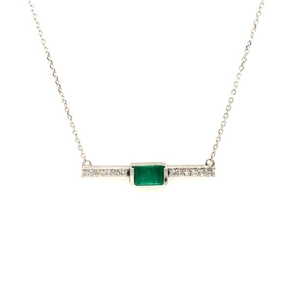 14k White Gold 0.77ctw Emerald and Diamond Pendant Robert Irwin Jewelers Memphis, TN
