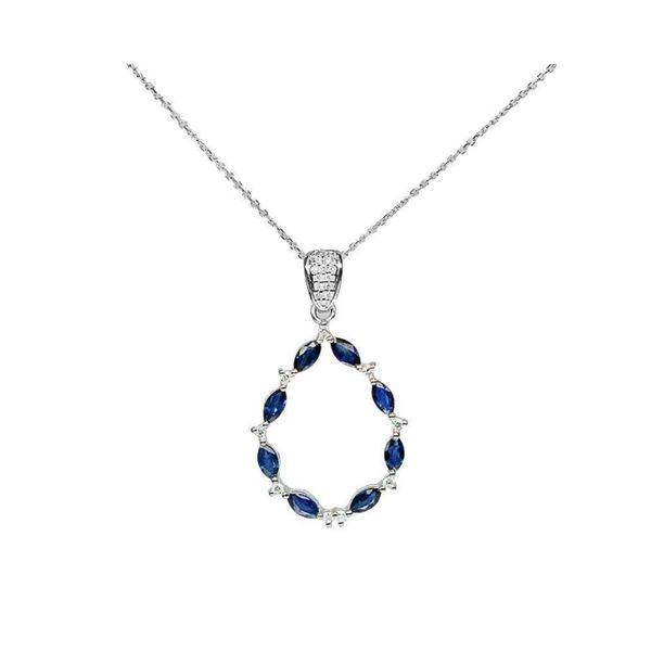 14k White Gold 1.42ctw Sapphire and Diamond Pendant Robert Irwin Jewelers Memphis, TN