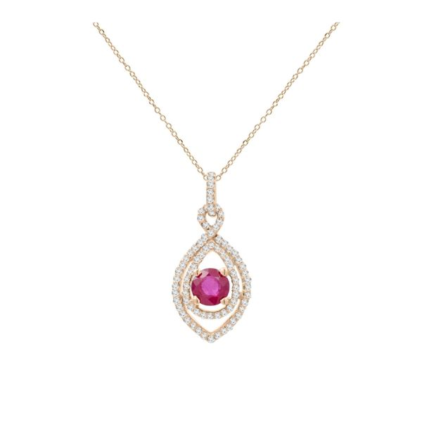 14k Rose Gold 1.02ctw Ruby and Diamond Pendant Robert Irwin Jewelers Memphis, TN