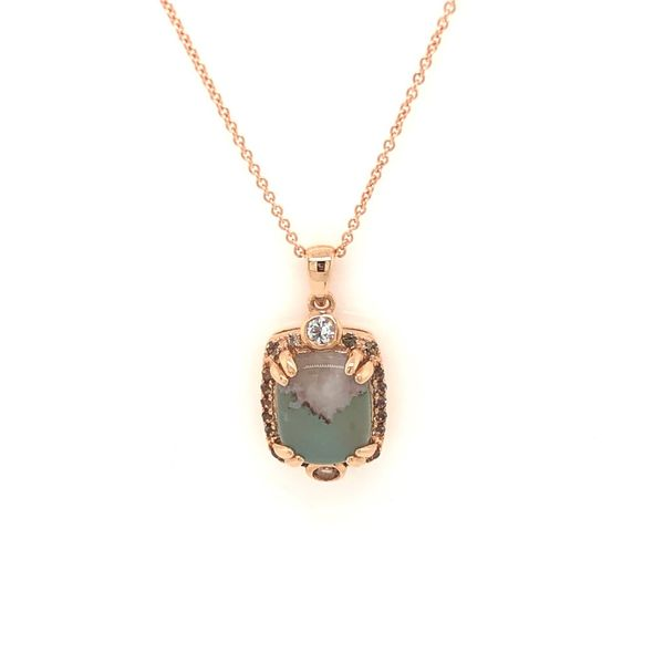 14k Strawberry Gold Aquaprase and Vanilla and Chocolate Diamond Pendant Robert Irwin Jewelers Memphis, TN