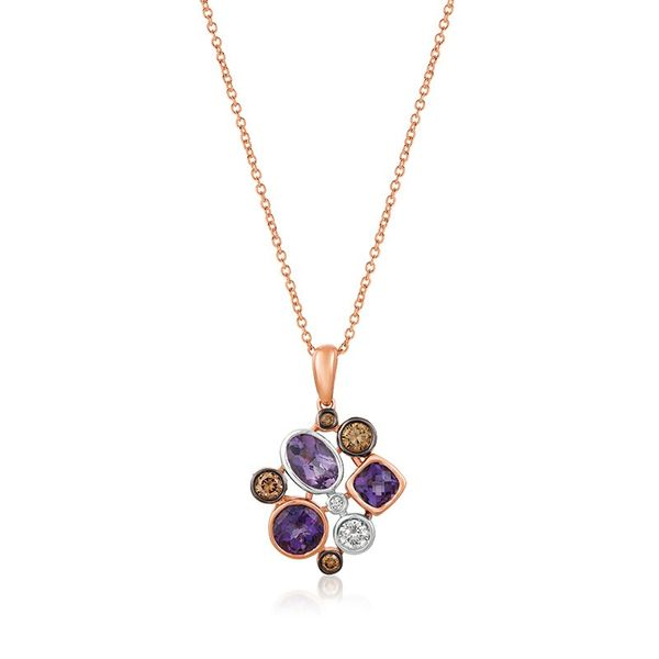 LeVian 14k Two Tone Gold 1ctw Grape Amethyst Pendant With 1/6ctw Chocolate Diamonds and 1/10ctw Vanilla Diamonds Robert Irwin Jewelers Memphis, TN