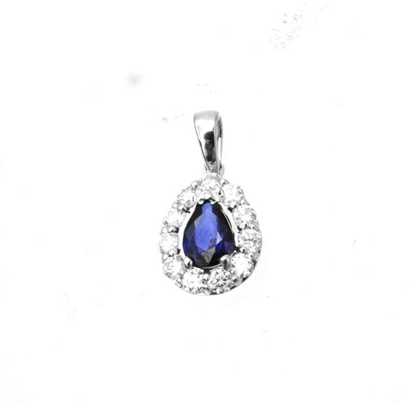 14k White Gold 1.35ctw Pear Shape Sapphire and Diamond Pendant With Chain Robert Irwin Jewelers Memphis, TN