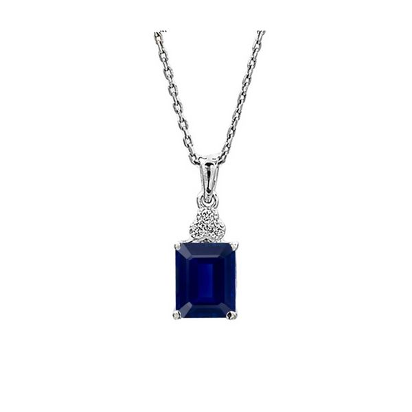 14k White Gold 2.70ctw Emerald Shape Sapphire and Diamond Pendant Robert Irwin Jewelers Memphis, TN