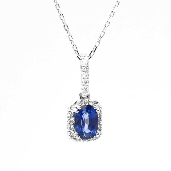 14k White Gold 1.30ctw Sapphire and Diamond Pendant Robert Irwin Jewelers Memphis, TN