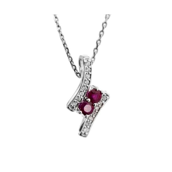 14k White Gold 0.65ctw Ruby and Diamond Pendant Robert Irwin Jewelers Memphis, TN