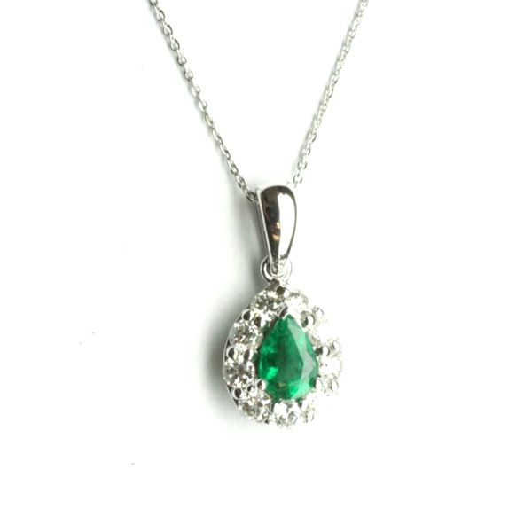 14k White Gold 0.95ctw Pear Shape Emerald and Diamond Pendant Robert Irwin Jewelers Memphis, TN