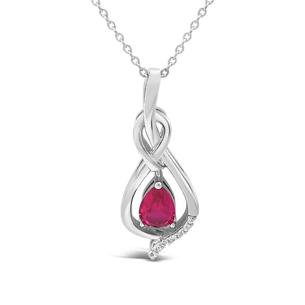 Sterling Silver Lab Created Pear Shape Ruby and Cubic Zirconia Pendant Robert Irwin Jewelers Memphis, TN
