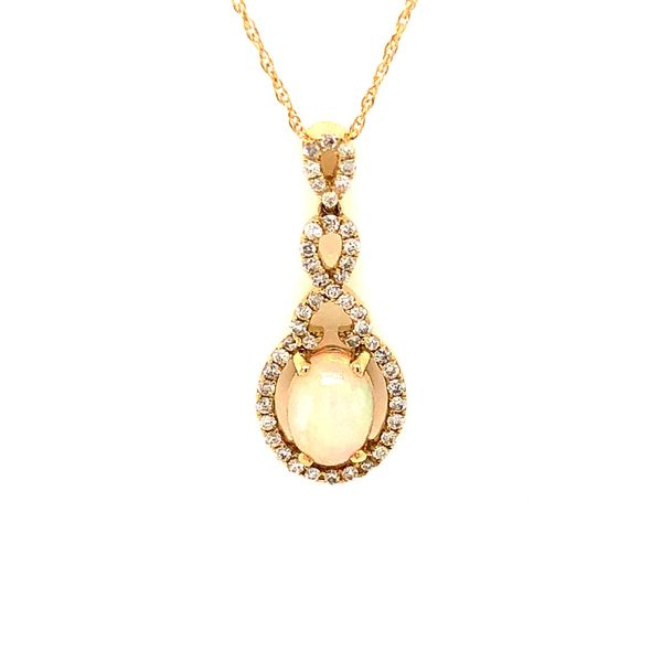 14k Yellow Gold 1.16ctw Opal and Diamond Pendant Robert Irwin Jewelers Memphis, TN