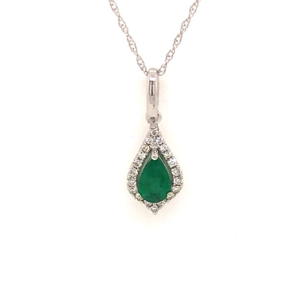 14k White Gold 0.48ctw Pear Shape Emerald and Diamond Pendant Robert Irwin Jewelers Memphis, TN