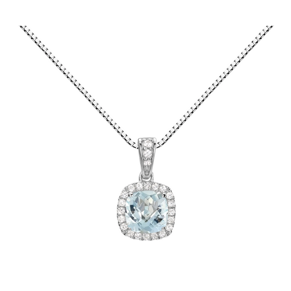 Sterling Silver Lab Created Aquamarine and White Topaz Halo Pendant Robert Irwin Jewelers Memphis, TN