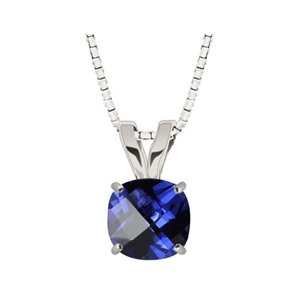 Sterling Silver Lab Created 8mm Cushion Cut Sapphire Pendant Robert Irwin Jewelers Memphis, TN