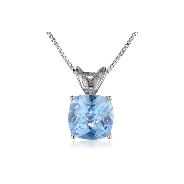 Sterling Silver Lab Created Aquamarine Pendant Robert Irwin Jewelers Memphis, TN