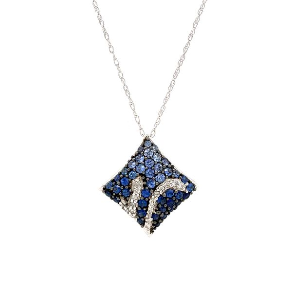 14 Karat White Gold 1 Carat Sapphire and Diamond Pendant Robert Irwin Jewelers Memphis, TN