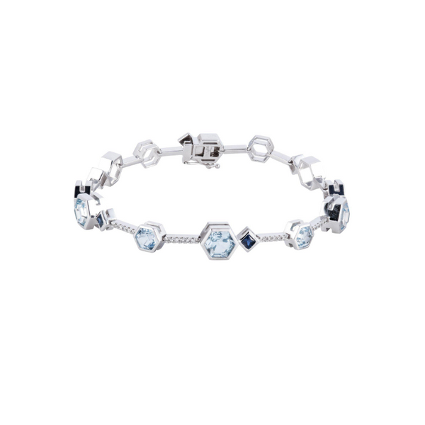 14k White Gold 4.64ctw Blue Topaz, Diamond, and Sapphire Bracelet Robert Irwin Jewelers Memphis, TN