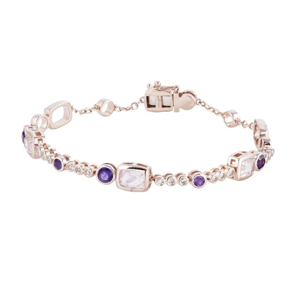 14k Rose Gold 2.14ctw Diamond, Rose Quartz, and Amethyst Fashion Bracelet Robert Irwin Jewelers Memphis, TN