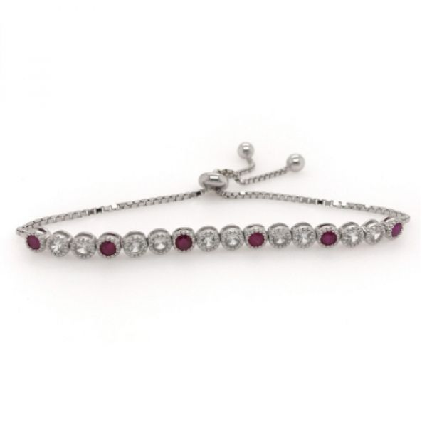 Sterling Silver 2.25ctw Ruby and White Topaz Bolo Bracelet Robert Irwin Jewelers Memphis, TN