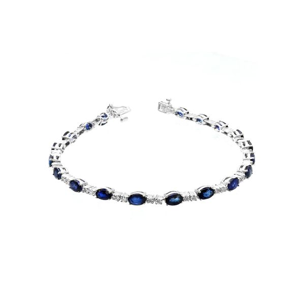 14k White Gold 7.40ctw Sapphire and Diamond Bracelet Robert Irwin Jewelers Memphis, TN