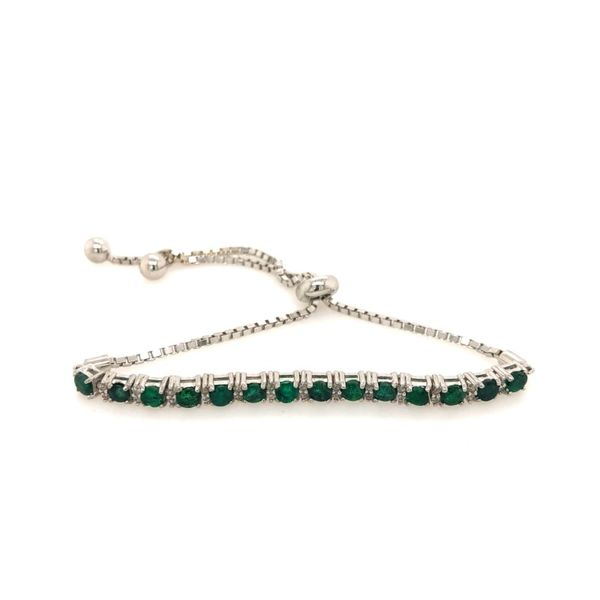 Sterling Silver 2.25ctw Emerald and White Topaz Bolo Bracelet Robert Irwin Jewelers Memphis, TN