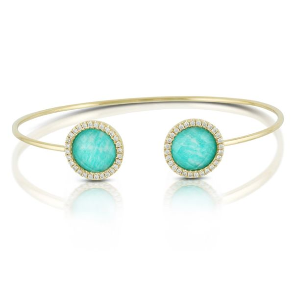 18k Yellow Gold 0.35ctw Diamond and Amazonite Bangle Robert Irwin Jewelers Memphis, TN